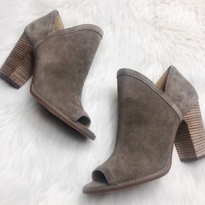 Lucky Brand NWOT Chunky Suede Peep-toe Booties